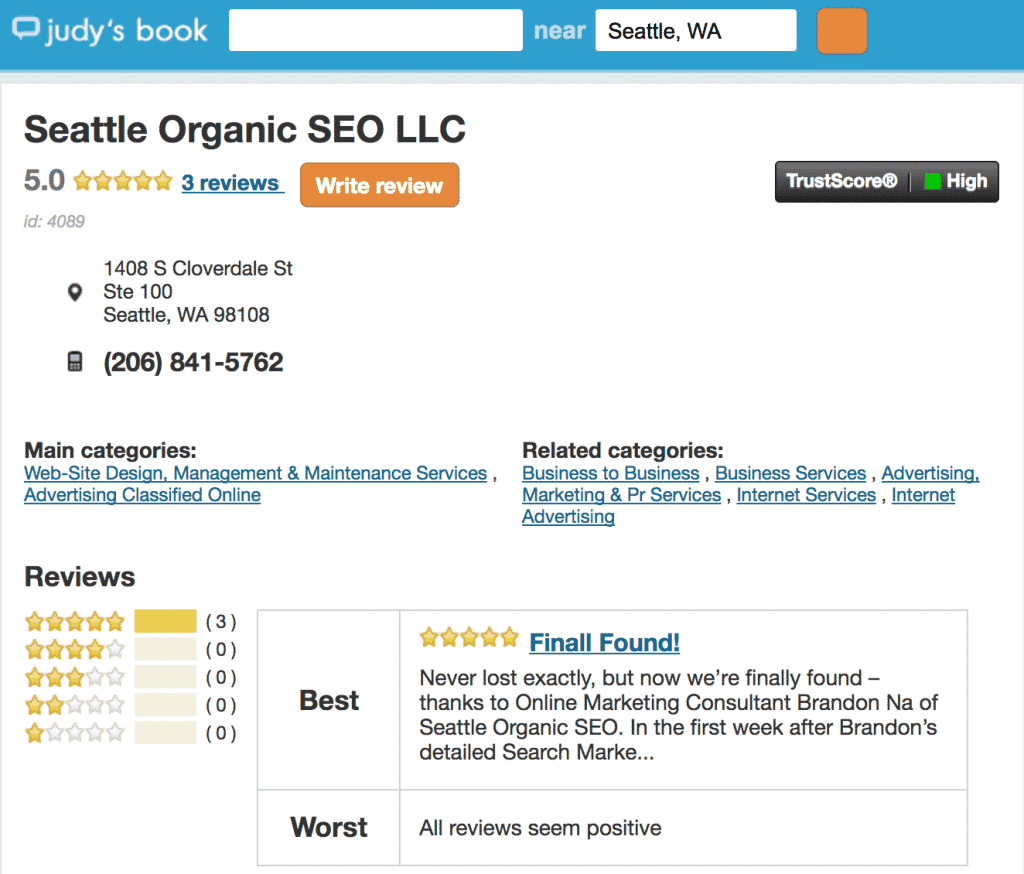 best seattle seo agency's reviews by judy's book